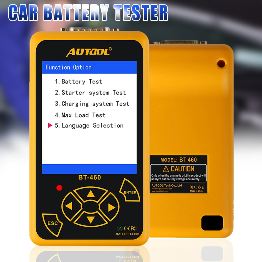 BT-460 Car Battery Tester Charging System Analyzer Multi-Languages Vehicle Testing Repair Tools for 12V 24V Vehicle TP89