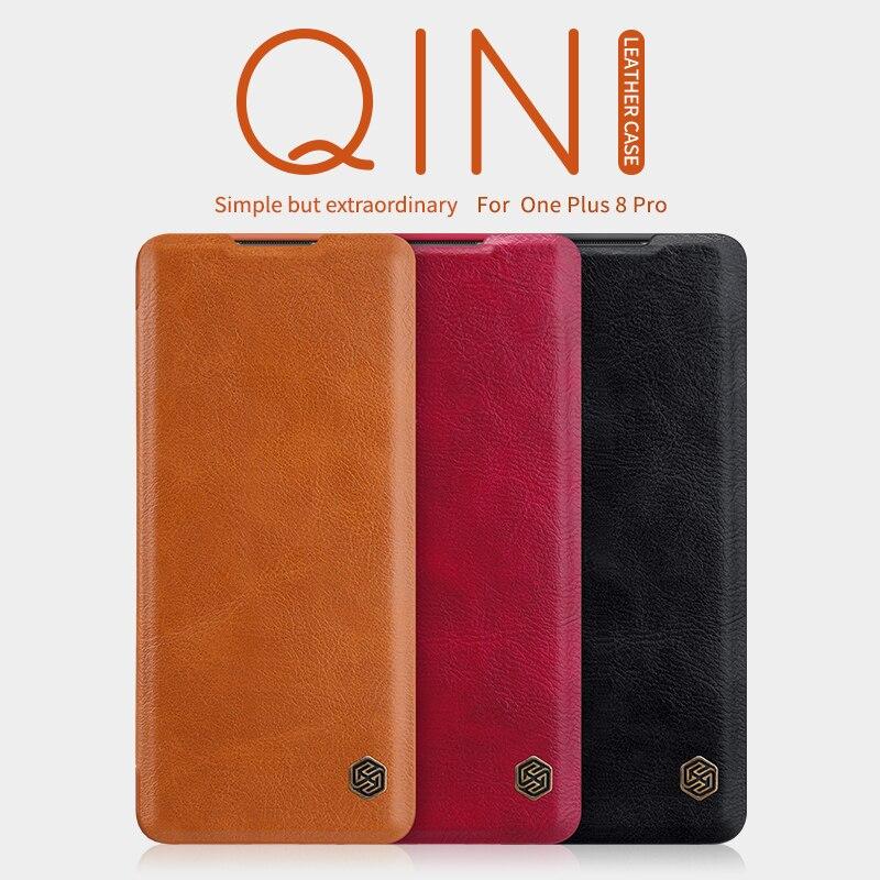 Para oneplus 8 pro caso nillkin inteligente wake up qin carteira capa de couro para oneplus 7t/7t pro caso um mais 8/7/7pro/5t caso
