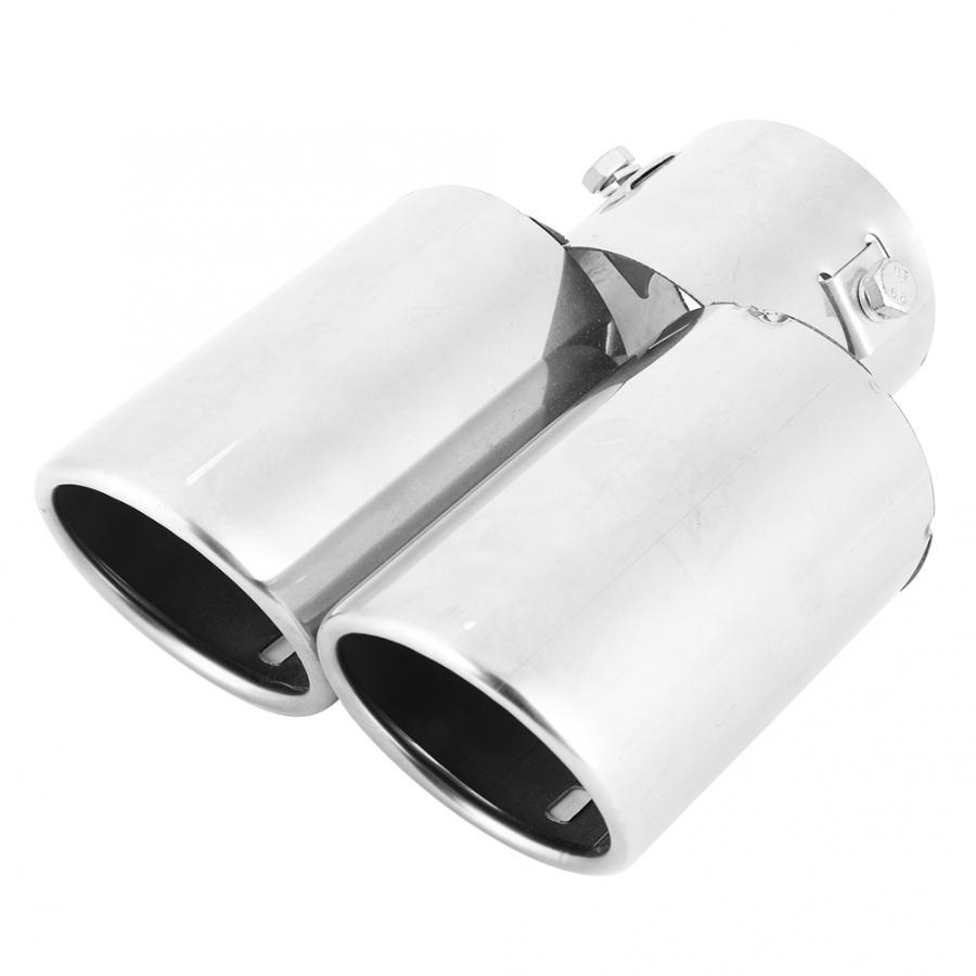 Tubo de escape Universal A2008 para coche, punta de ajuste, extremo oblicuo Circular, doble salida, tubo de escape trasero de 60MM SUS, garganta trasera de acero inoxidable