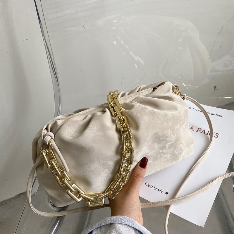 Solid Color Elegant Female Tote Bag 2021 Fashion Soft Corduroy New Women Designer Handbag Casual Travel Shoulder Messe Cloud Bag
