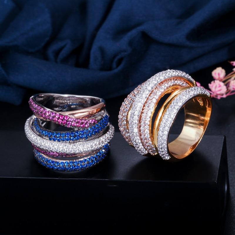 Designer de Luxo Moda Charme Zircons Tons Ouro Geometria Zirônio Cúbico Grande Casamento Noivado Nupcial Dedo Anel Jóias 3