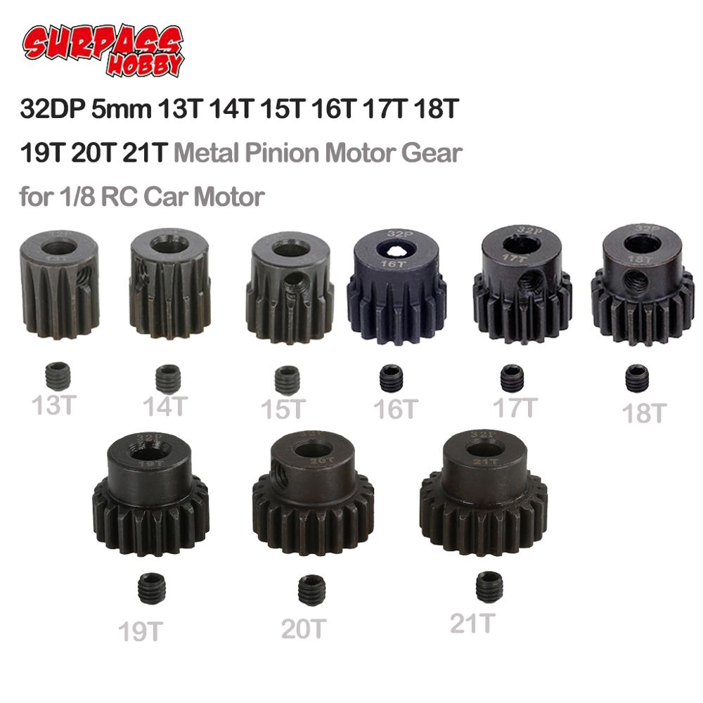Surpass hobby 32dp 5mm 13t 14t 15t 16t 17t 18t 19t 20 engrenagem automotiva de pinion t 21t, equipamento de metal para 1/8 rc hsp, hpi, caminhão, carro