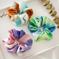 1pc elegant chiffon elastic hair bands print colorful flower hairtie scrunchie rubber bands gum ponytail holder hair accessories
