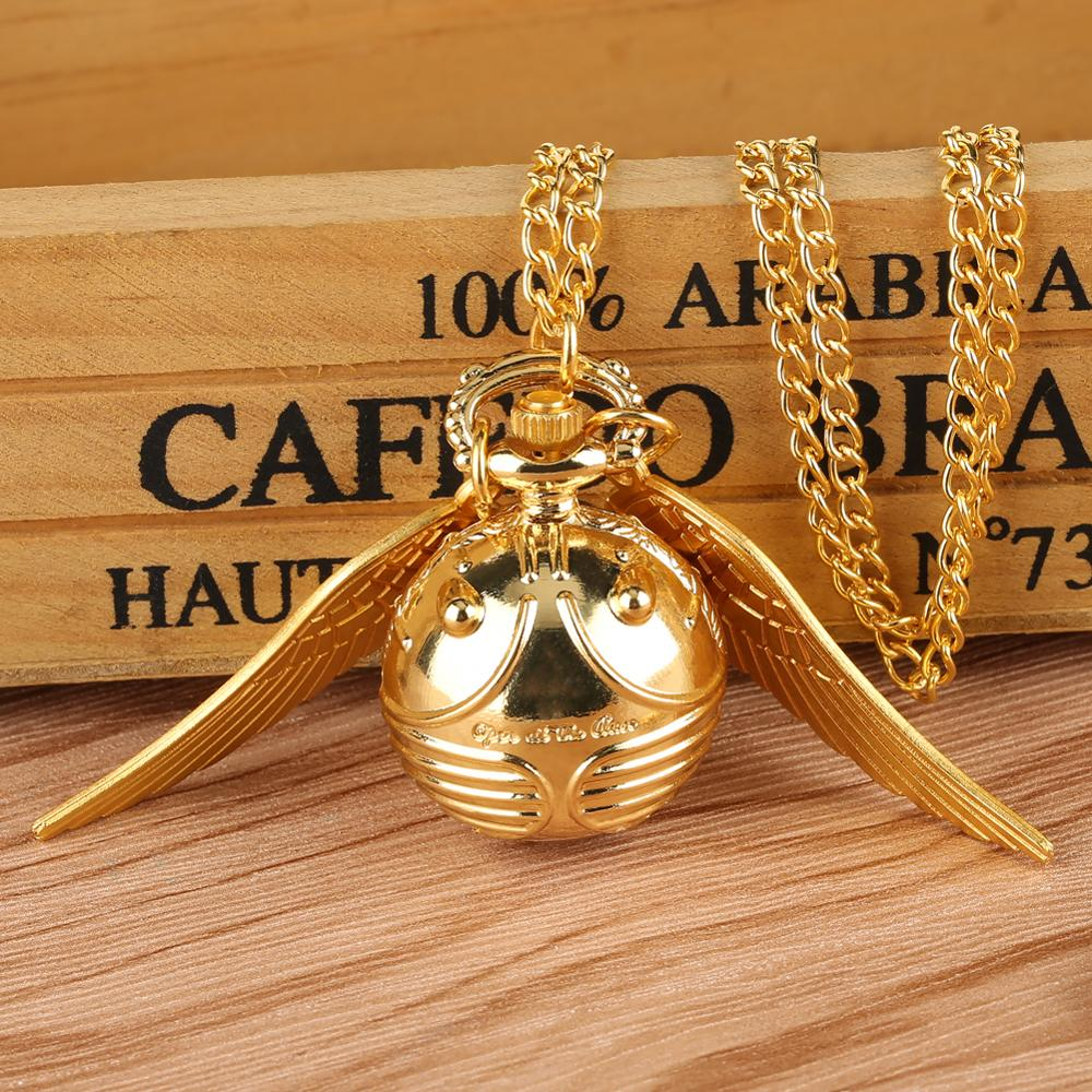 Luxury Golden Snitch Ball Sweater Pendant Quartz Pocket Watch Necklace Lovely Cute Fob Pocket Chain