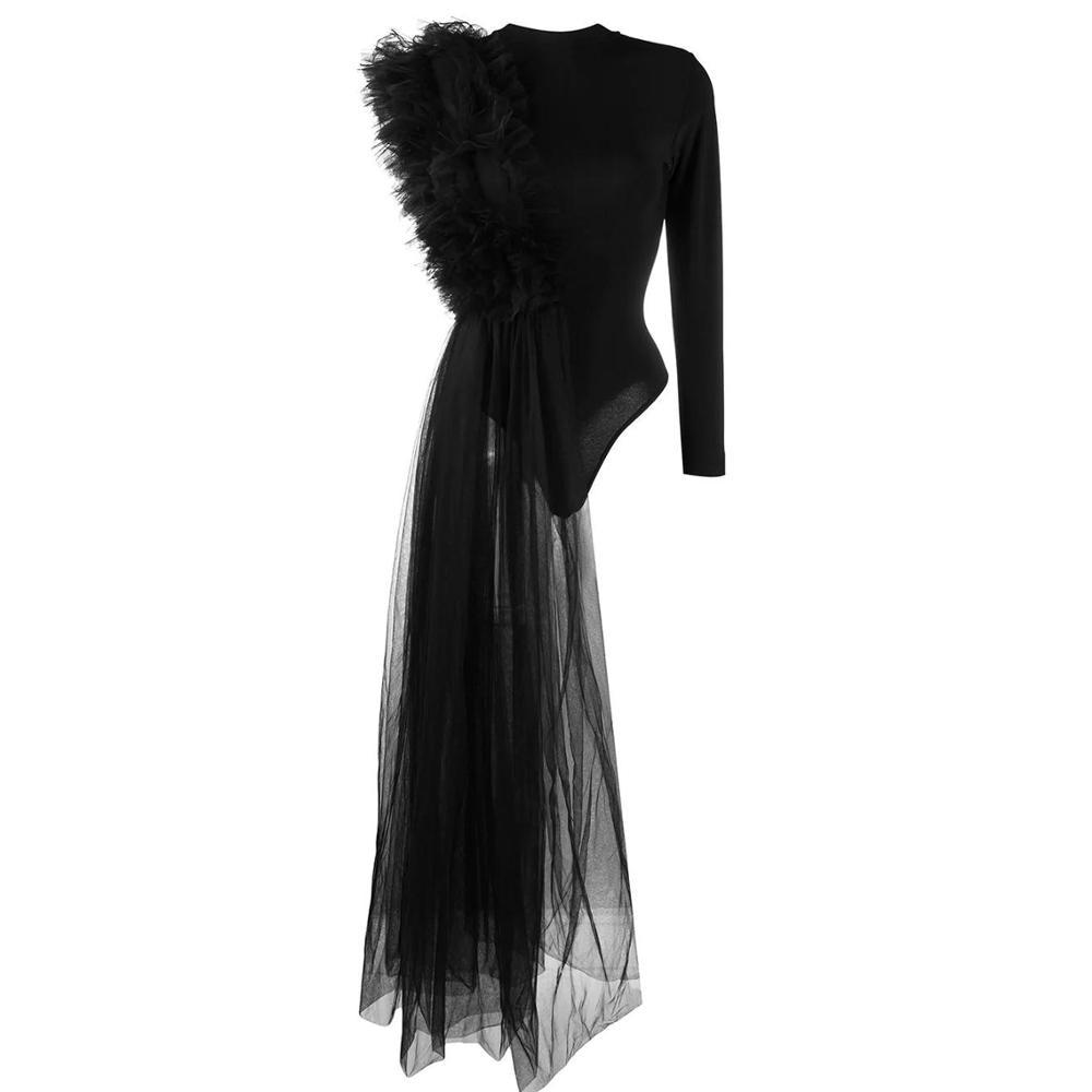 بذلة نسائية موضة سوداء غير متماثلة بكتف واحد مكشكشة متدرجة من التل ملابس فضفاضة للنساء Vestidos