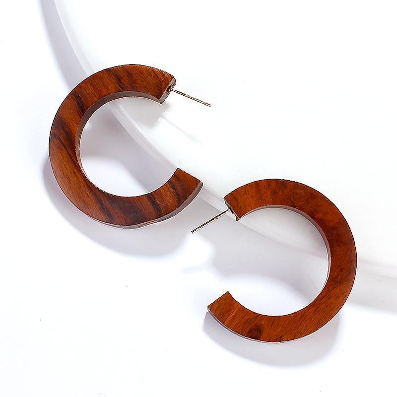 AENSOA, pendientes de gota de madera con forma de luna de diseño único, 2019, pendientes geométricos Vintage, Pendientes colgantes étnicos con forma de hipérbole