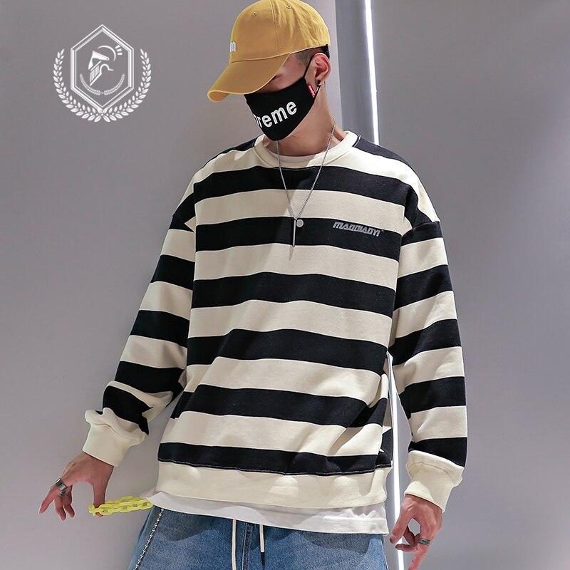 Men Fashion Loose Stripe Print Casual Pullover Hip Hop Sweatshirts