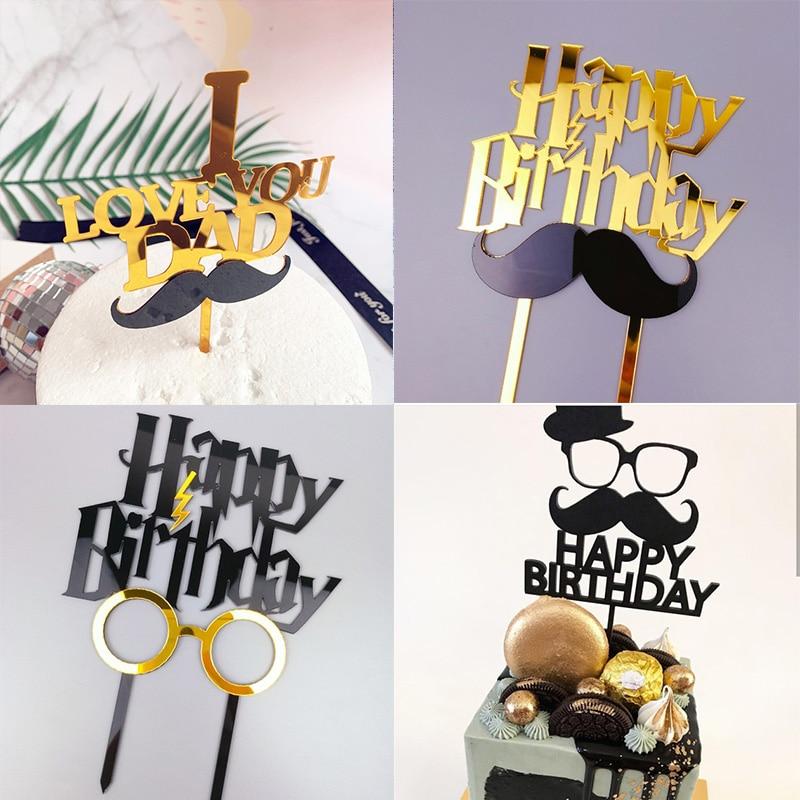 Золотой акриловый Топпер для торта на день рождения для папы, топпер для торта на день рождения папы, украшения для торта для вечеринки на де...