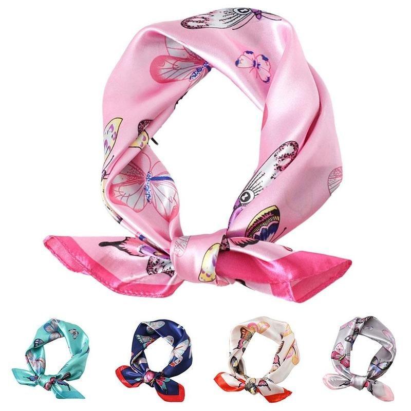 Square Silk Scarf Simulation Cartoon Butterfly Print Ribbon Women Girls Elegant Dress Up Accessories
