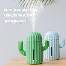 Air Humidifier Home Office Mini Air Diffuser Cactus Design USB Powered 340ml LED Humidifier USB Version