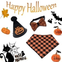 Halloween Holiday Pet Dog Cat Collar And Hat  Adjustable Strap For Collar Pet Accessories Puppy Pump