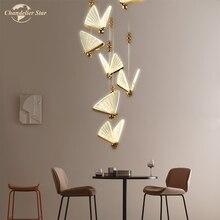 LED postmoderne lustres éclairage nordique papillon Lustre pendentif suspension lampe pour salon chambre salle à manger escalier