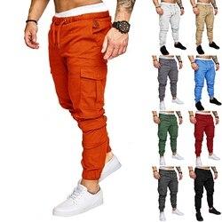 Calças de carga dos homens joggers sweatpants casual masculino esporte sólido multi-bolso calças de carga hip hop harem calças finas