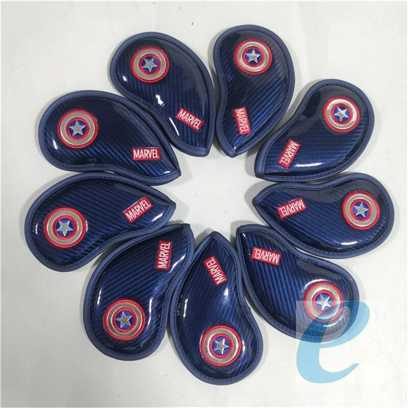 Cabeza de hierro de Marvel cubre PU cuero Capitán América palos de Golf Iron Headcover Set # 4-9PAS para hombre mujer