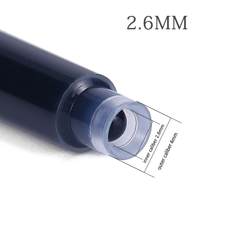 10pcs/pack 2.6mm Caliber Ink Cartridges for Fountain Pens Black/Dark Blue/Red/Blue Disposable Cartridges Ink Supplies