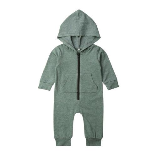 Mono con cremallera para bebé recién nacido, niño y niña con capucha, conjunto de trajes de mono, ropa verde sólido con capucha, conjunto de ropa de bebé, abrigo de moda