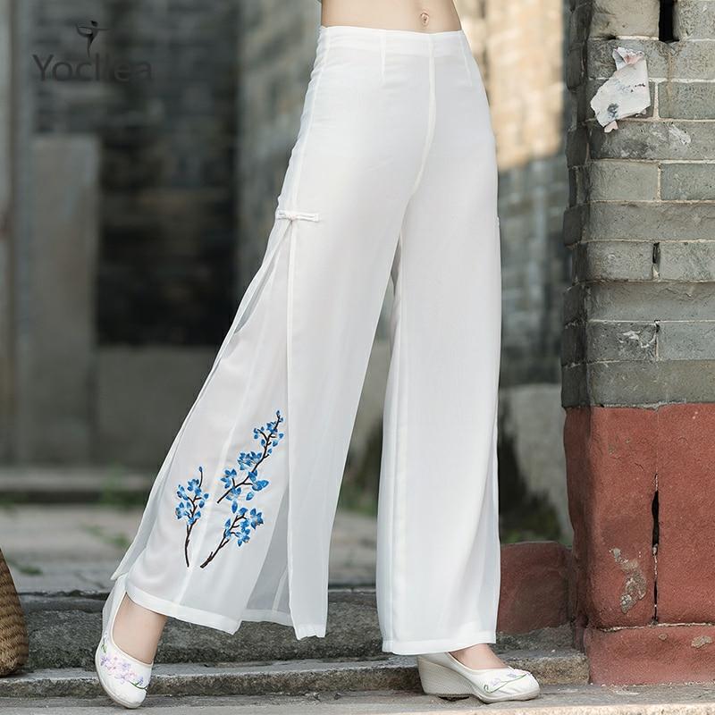 Mujer OL Chiffon a media cintura pantalones de pierna ancha de talla grande S-5XL primavera otoño bordado doble capa casual pantalones WJ515