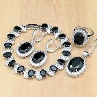 925 sterling silver jewelry set black zircon stone white cz decoration for women earringspendantnecklaceringsbracelet