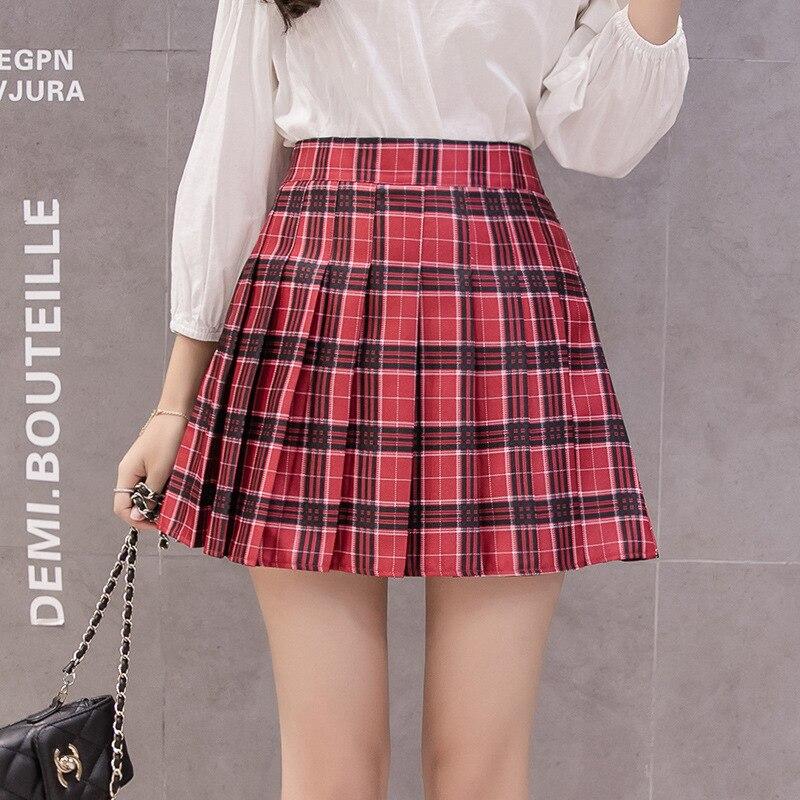 2020 Summer New Women High Waist Chic Stitching Short Skirt Plaid Pleated Casual Sweet Mini Skirts