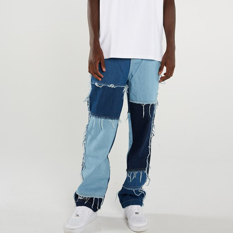 Men Wash Splice Casual Straight Tassel Patchwork Jeans Trousers Male Fashion Streetwear Loose Hip Hop Denim Full Length Pants