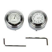 7/8 inchor 1 pouce étanche cadran moto guidon horloge thermomètre Temp + moto guidon horloge + clé hexagonale pour H