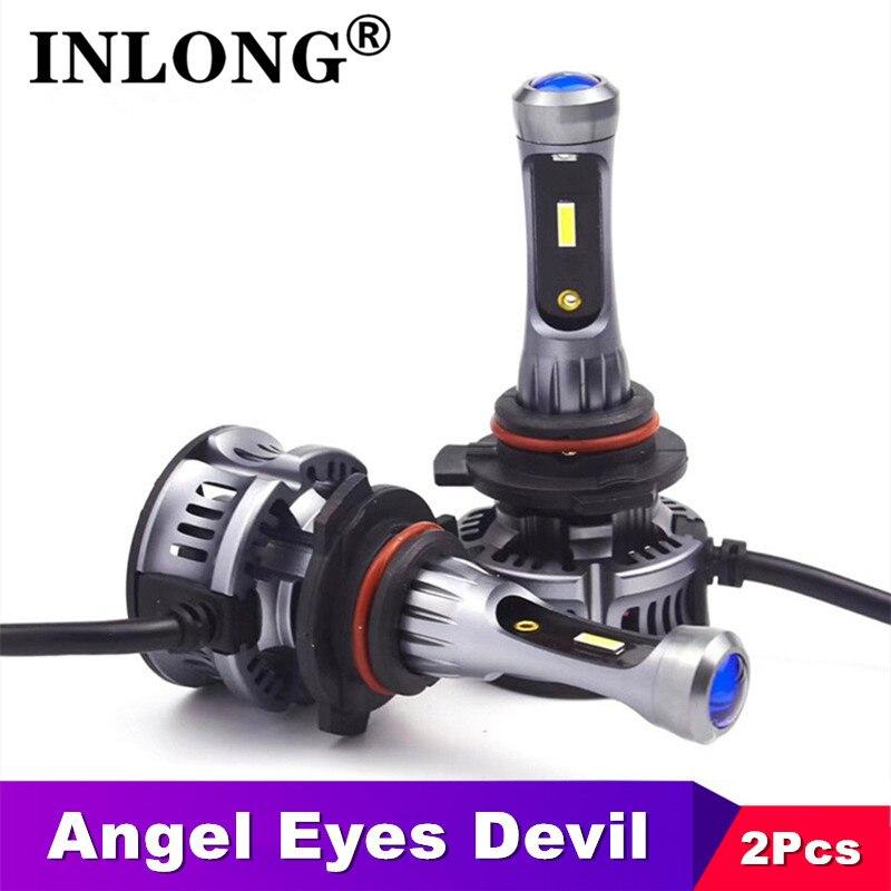 Mini lente do projetor diabo angel eyes csp chips h7 led luzes carro 9005 hb3 9006 hb4 led h11 h8 luz de nevoeiro da motocicleta 6500k 12v 24v