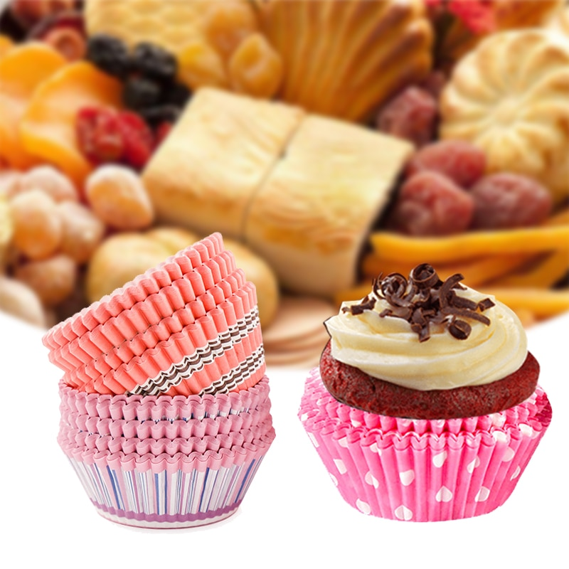Papel de recubrimiento para Cupcake de alta temperatura de grado alimenticio, caja de panecillos para hornear estuche con forma de taza, bandeja para pastel, molde de decoración, utensilios de cocina para el hogar