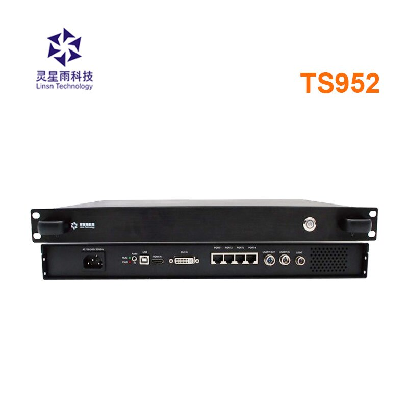 Linsn-صندوق إرسال 4 منافذ شبكة TS952 ، يدعم إدخال مصدر الفيديو 4K لشاشة led بالألوان الكاملة مع بطاقة إرسال ts902