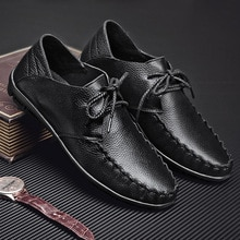 Casual Loafers Men Shoes Genuine Leather Driving Shoes Retro Fashion Lace Up Flats Male Boat Shoes C