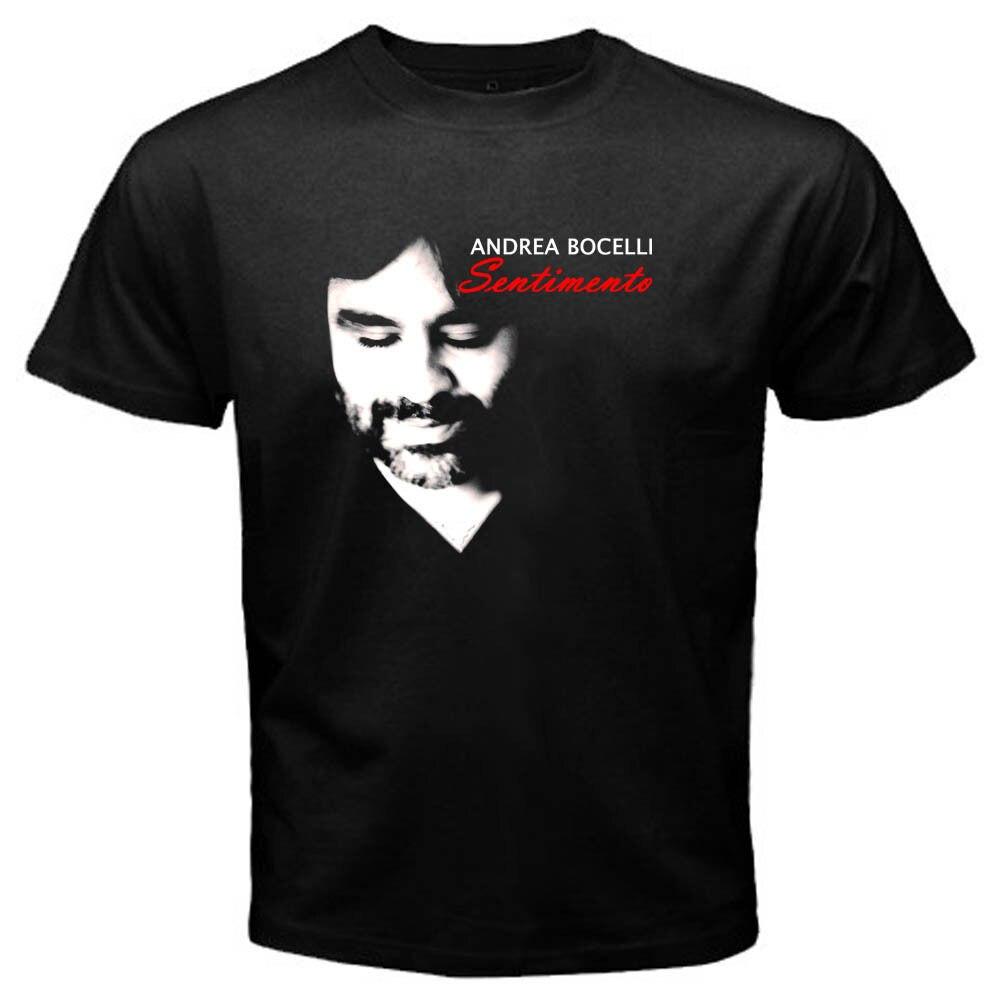 Andrea Bocelli Mens Black T-ShirtCasual O-Neck Print Tops t shirts Men Men's T-Shirt New