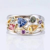 irregular asteroid rings exquisite multicolor geometric ladies ring with zircon wavy lines ring crystal colorful galaxy rings