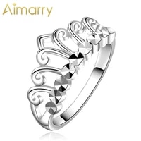 aimarry 925 sterling silver charm crown ring for women party engagement gift wedding fashion jewelry