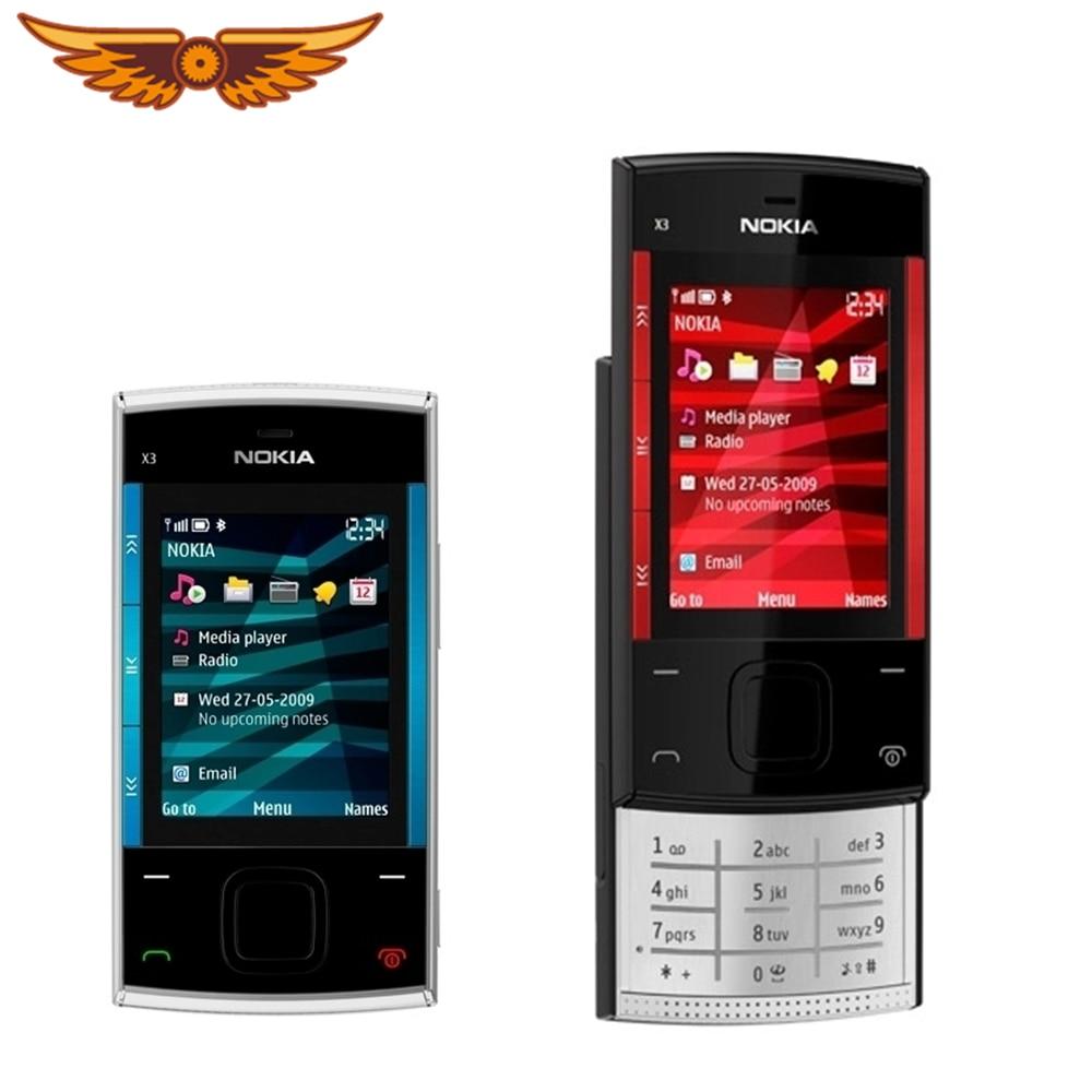 X3 Original Nokia X3-00 teclado ruso 3.2MP 2,2 pulgadas 860mAh Bluetooth Slider reacondicionado desbloqueado teléfono móvil