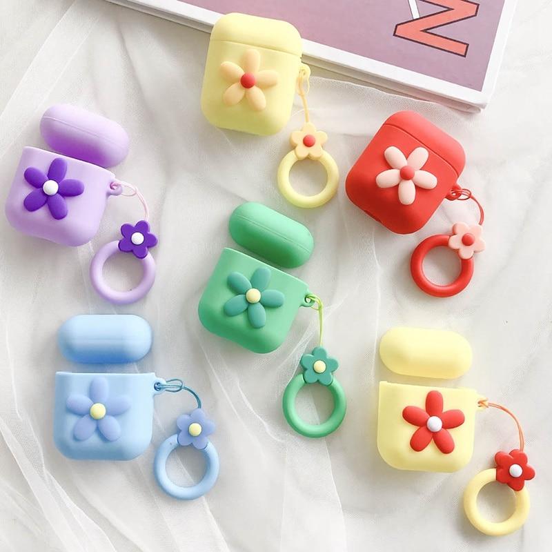 Para AirPods funda de moda linda flor caja de dulces para Airpods 2/i10/i11/i12 TWS auriculares cubierta protectora con correa de anillo de dedo