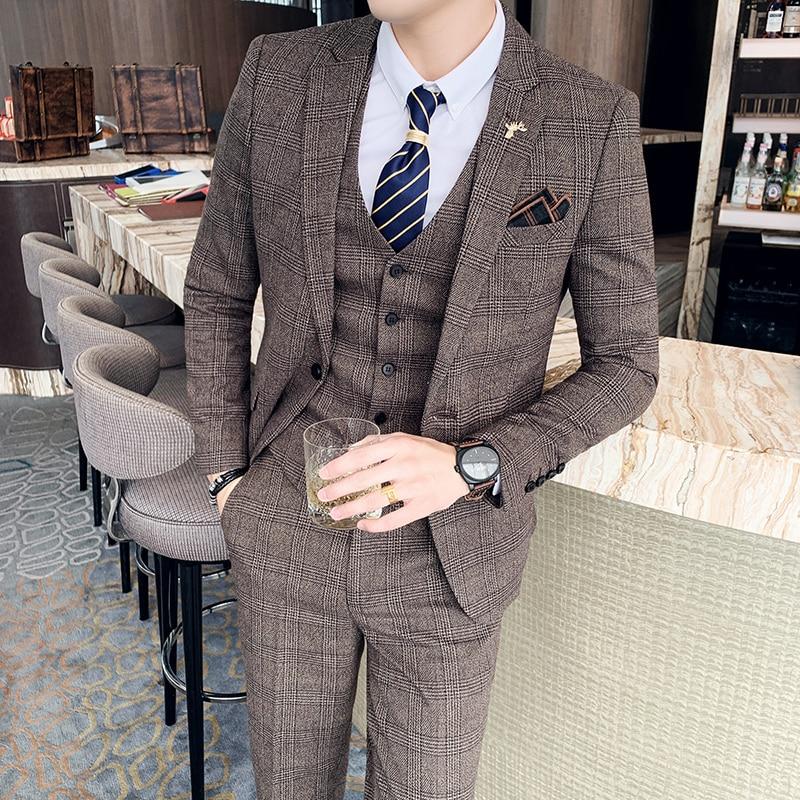 ( Jacket + Vest + Pants ) Boutique Fashion Mens Plaid Casual Business Suit High-end Social Formal Suit 3 Pcs Set Groom Wedding