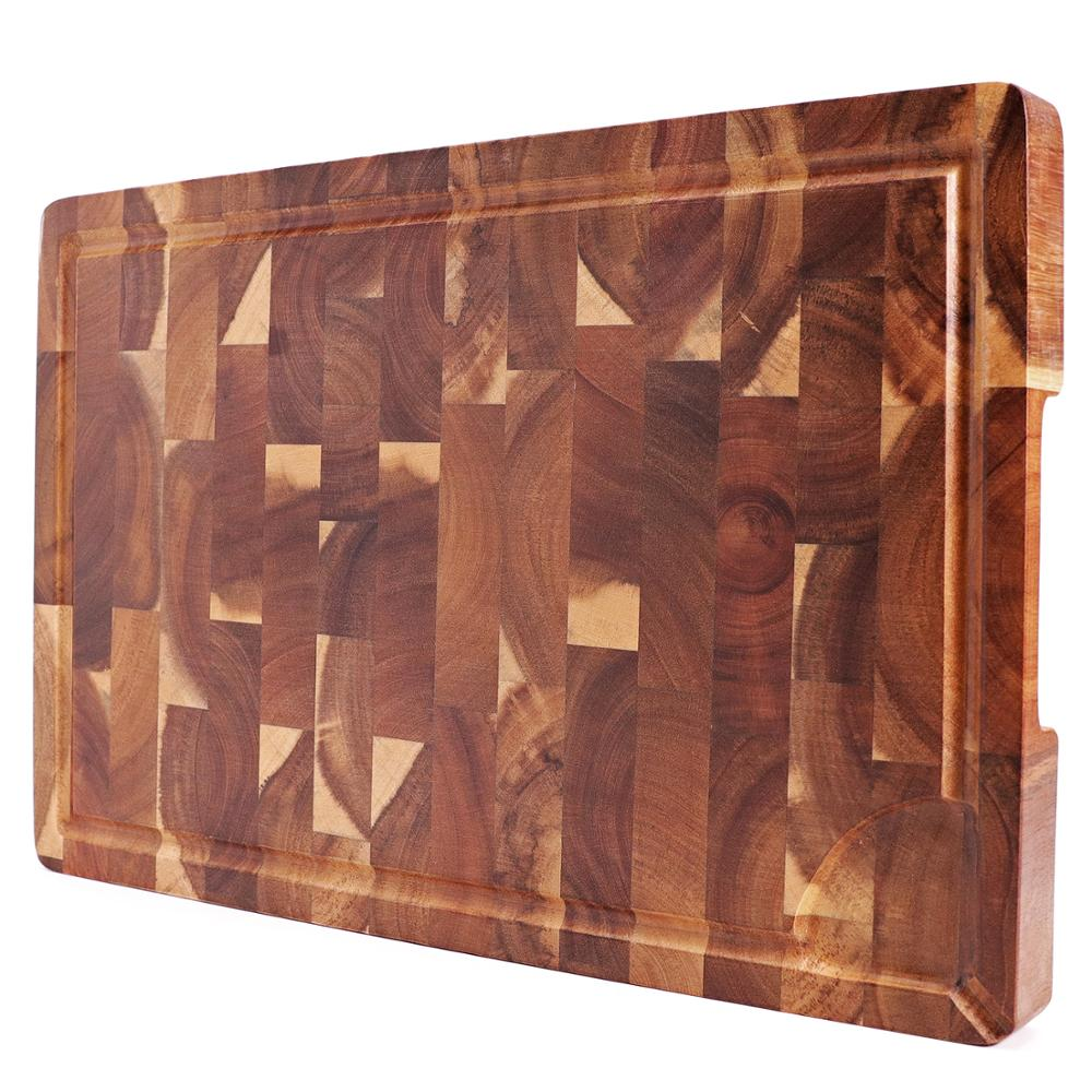 لوحة تقطيع كبيرة للغاية ، كتلة خشبية مستطيلة نهاية الحبوب ، لوحات تقطيع المطبخ ، خشب السنط ، 18x12x1.4 بوصة
