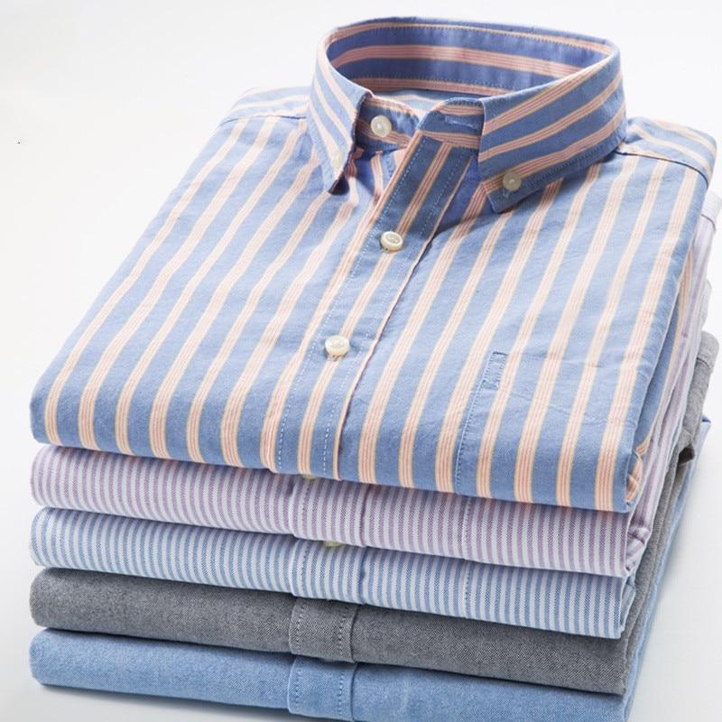 Рубашка мужская классическая из чистого хлопка, рубашка из ткани Оксфорд в клетку, с длинными рукавами, мягкая удобная приталенная, большие ...