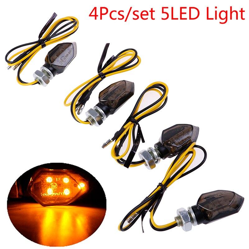 Venda quente 4 pçs mini motocicleta fumaça lente sinal de volta indicador diy ciclismo lâmpadas luz 5led blinker âmbar moto personalizado
