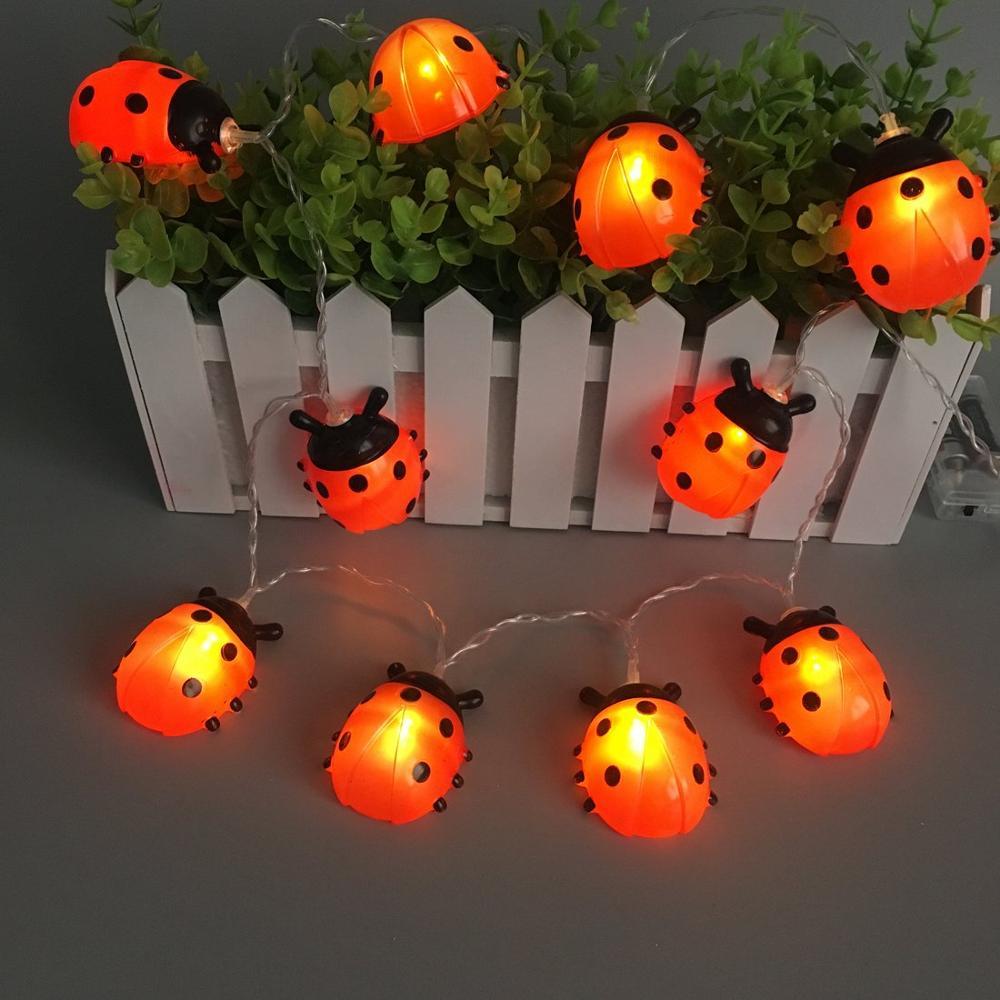 Joaninhas led luzes da corda de fadas alimentado por bateria 10/20leds à prova dwaterproof água jardim pátio cerca natal ladybird noite luz guirlanda
