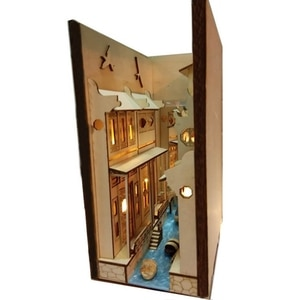 DIY Alley Book Nook Wooden Jiangnan Water Town Wuzhen Assembly Model Bookshelf Street with Light Model Building Kit