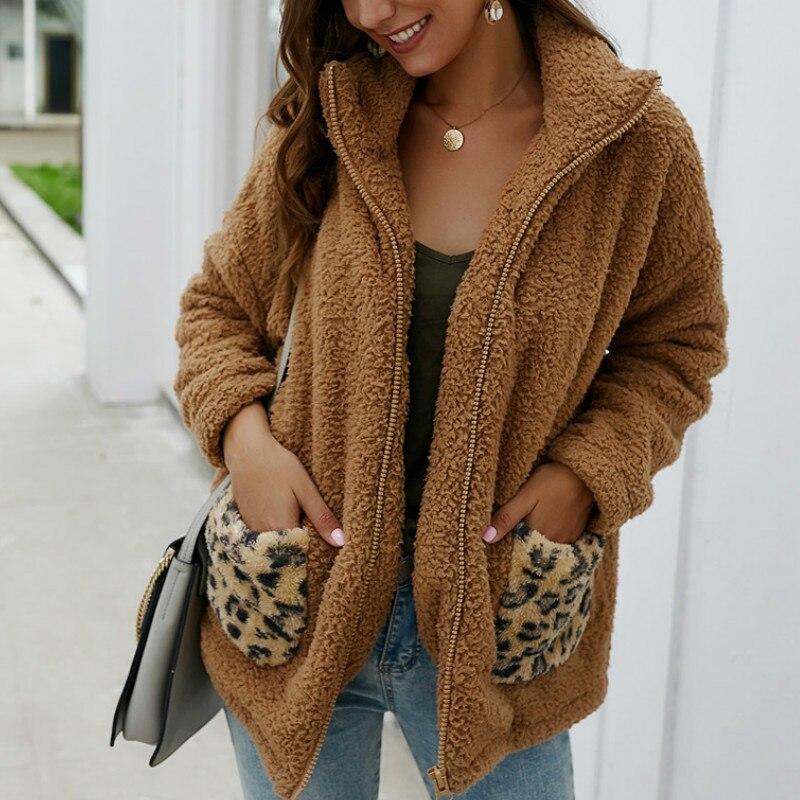 Mujeres 2019 Otoño e Invierno Faux piel abrigo chaqueta de abrigo de leopardo bolsillo Tun-down Collar Casual cremallera Cardigan abrigo