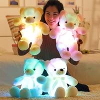 Kawaii светящиеся Плюшевые мишки световой 30 см творческий светильник со светодиодной Красочные набитая животная плюшевая игрушка, наряды для ...