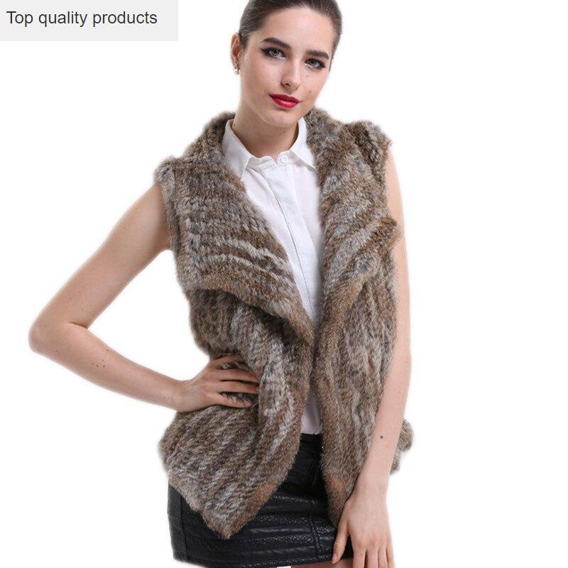 QAZXSW mujer moda Chaleco de piel Real 2020 nuevo Otoño e Invierno conejo de piel Real sin mangas chaqueta de piel femenina LH1315