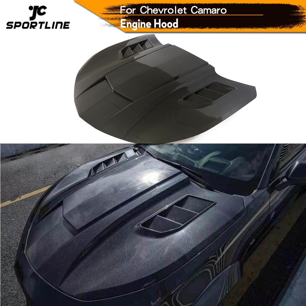 Carbon Fiber Engine Hood Bonnet For Chevrolet Camaro Coupe 2016 2017 2018 Engine Hood Bonnet Cover Trim Car Accessories