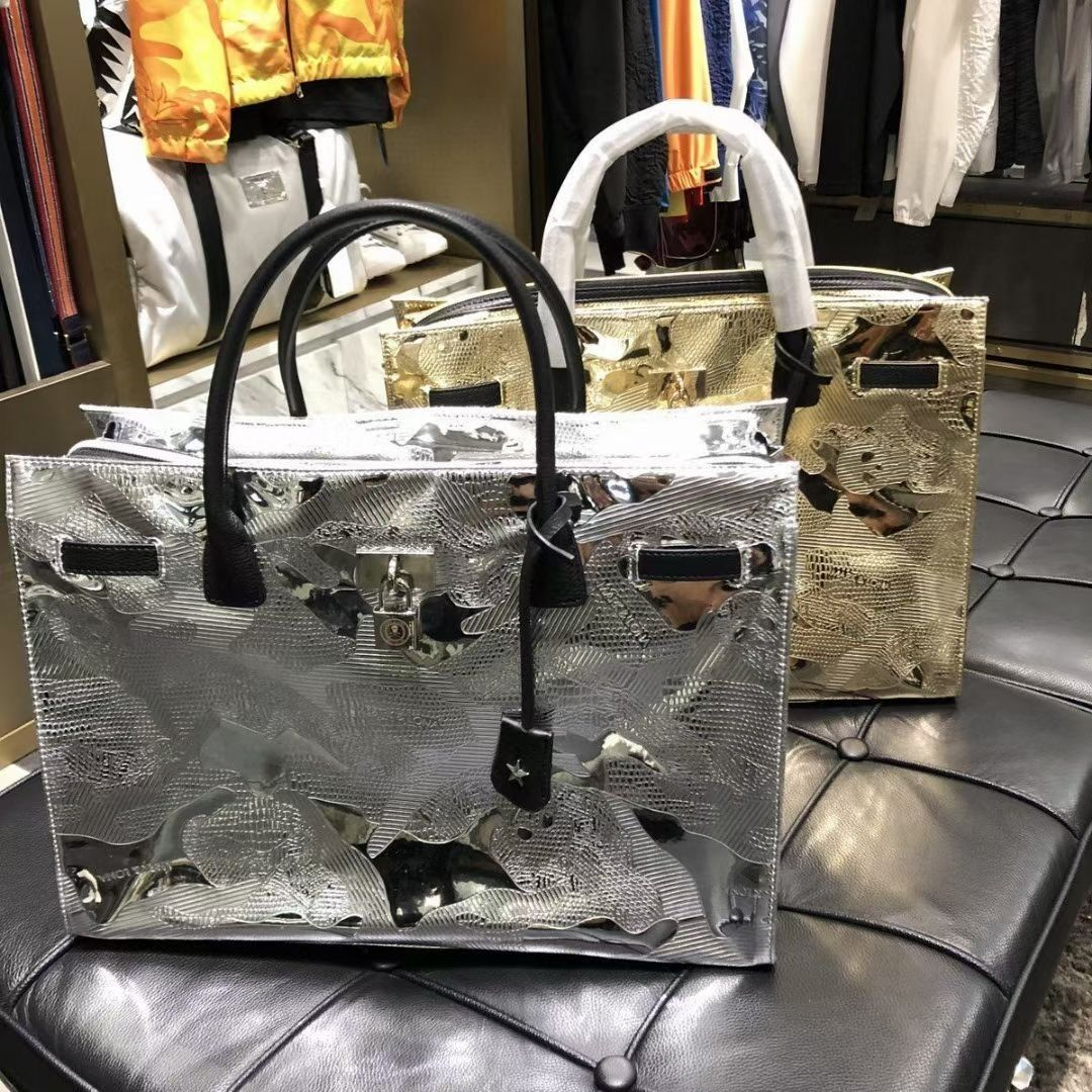 Mark Lona Golf Bag Ultra Light Gold Plated Pu Handbag Tuhao Gold /Silver Coated Embossing