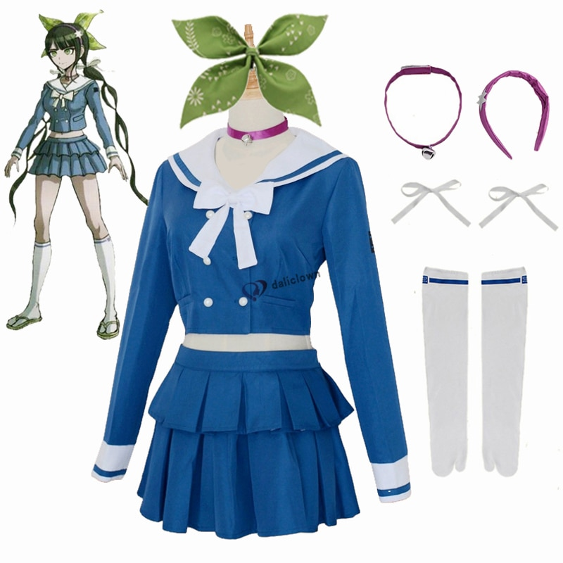 Anime Danganronpa V3 Killing Harmony Tenko Chabashira Cosplay Costume Women Blue School Uniform Outfit Dress Sailor Suit