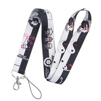 fd0190 projectile anime lanyard neck strap rope for mobile cell phone id card badge holder with keychain keyring
