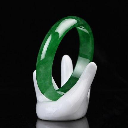 Envoyer un certificat naturel Myanmar un Bracelet émeraude de qualité vert 54-64mm Bracelet en Jade cadeau exquis pour maman et petite amie