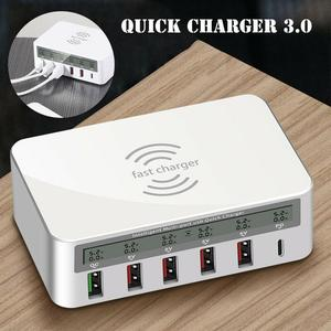 Smart 6-port USB HUB Charging Station QC3.0 Fast Charge PD Protocol 18W2.4A Wireless Charger