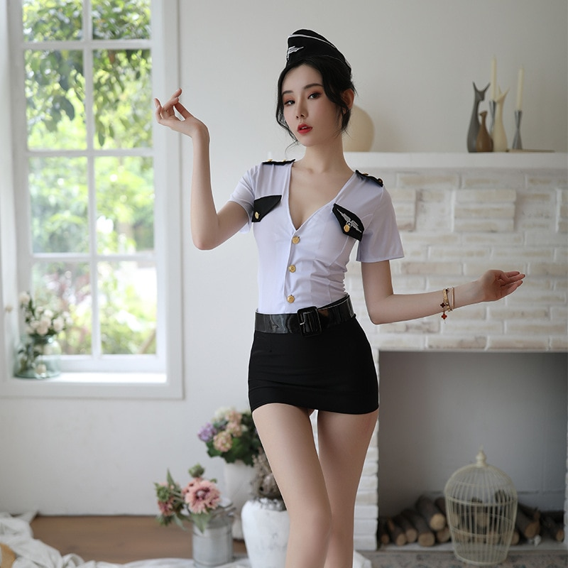 erotic costumes sexy police uniform cosplay sex Costumes for skirt flight attendant lingerie hot